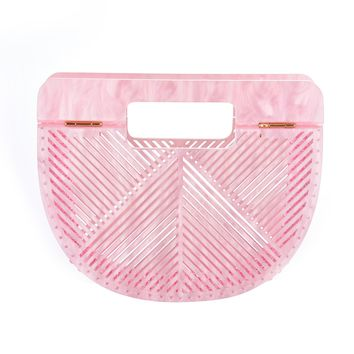 Pink Ark Bamboo Acrylic Clutch