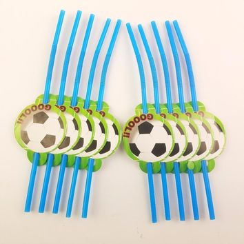 10pcs/lot  Football theme Straw Cartoon Birthday Party Decoration Soccer World Cup Boy's Favor Glass