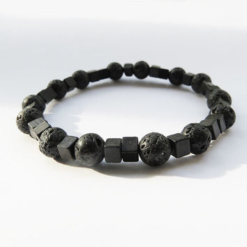 15% Off Lava Stretch Bracelet With Square Black Beads Inspired By Iceland - Unisex Rock jewelry