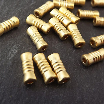 20 Ribbed Tube Beads - 22k Matte Gold Plated Brass