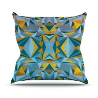 "Nika Martinez ""Abstraction Blue & Gold"" Throw Pillow"