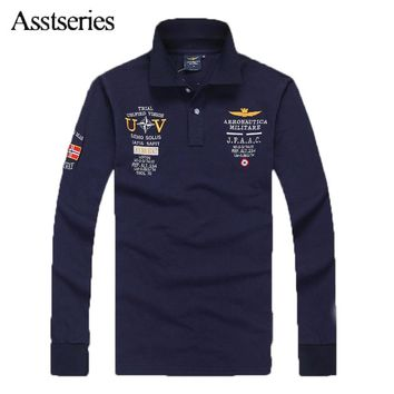 2018 High Quality Men T-shirt Australian Cotton Aeronautica Militare Men's Long Sleeve T-shirt Air Force One Embroidered 65wy