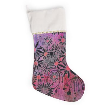 "Marianna Tankelevich ""Black Flowers"" Pink Purple Christmas Stocking"