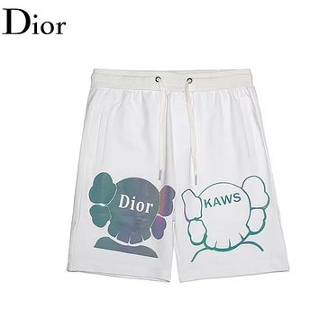 Dior & Kaws Fashion New Reflective Elephant Head Letter Print Women Men High Quality Shorts White