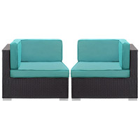 Convene Corner Sectional Outdoor Patio Set of Two in Espresso Turquoise