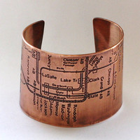 CTA Chicago Subway Cuff Bracelet by fugudesigns on Etsy