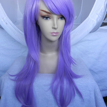 Light Lavender Purple / Long Straight Wavy Layered Wig Full Body