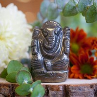 Pyrite Ganesh Statues for success, abundance, and empowerment