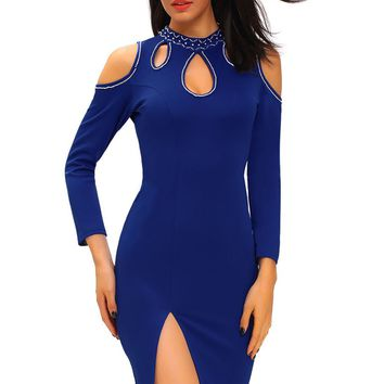 Blue Funky Studded Cutout Cold Shoulder Dress