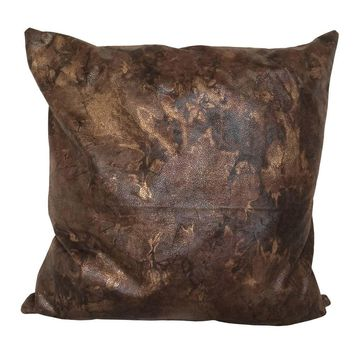 """Faux Leather Golden Effects 17""""x17"""" Pillow Cover - Light Brown, Dark Brown"""