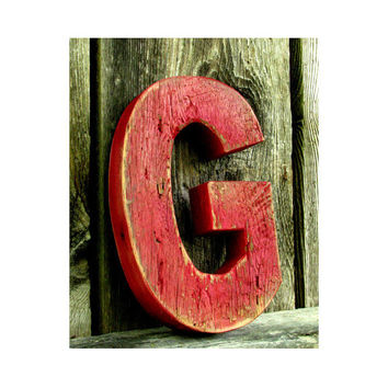 Rustic Barn Wood Letter G, Painted Distressed barn Red, Baby Nursery wall decor, Decorative Wall Letters