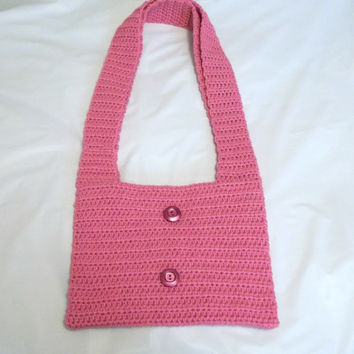 Crocheted Dusty Rose Tote, Pink Purse