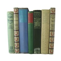 Blue, Green and Tan Vintage Book Set for Farmhouse Decor, S/7