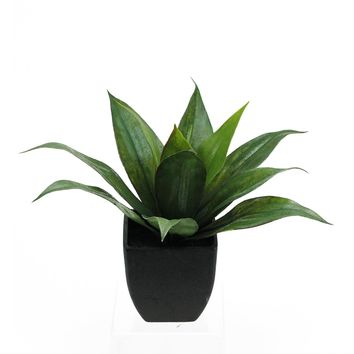 "16"" Artificial Green Agave Succulent Plant in a Decorative Black Pot"