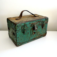 Industrial Metal and Wood Storage Box Metal Toolbox in Green with Rust and Chipped Paint Leather Handle