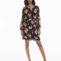 White House | Black Market Long-Sleeve Lace Inset Floral Print Dress
