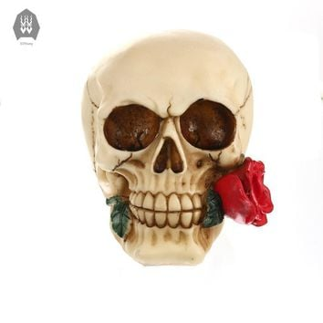 Skull Skulls Halloween Fall Resin Craft  Romantic  With Red Roses Skeleton Head Halloween Decor Figurine Statue And Sculptures  Decoration Calavera