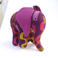 Elephant soft toy, purple.
