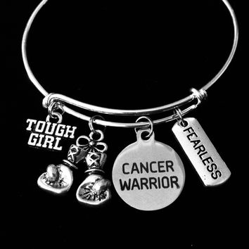 Cancer Warrior Fearless Tough Girl Adjustable Charm Bracelet Expandable Silver Bangle Fighter Inspirational One Size Fits All Gift Boxing Gloves