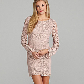GB Long-Sleeve Lace Shift Dress | Dillards.com