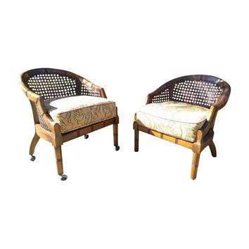 Pre-owned Vintage Cane Back Barrel Chairs - A Pair