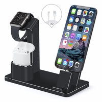 Apple Watch Stand,iPhone and AirPods Dock,SENZLE 4 in 1 Aluminum Desk Charger Stand Dock Station for Apple iWatch Series 3/2/1 /Airpods/iPhone X/8/8 Puls/7/6/iPad Mini,【NightStand Mode】 (Black)