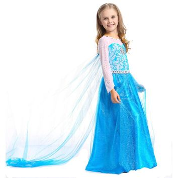 Best Quality Baby Girl Elsa Dress Kids Baby Snow Queen Elza Girls Costume Girls Party Costume Princess Floor Children Clothes