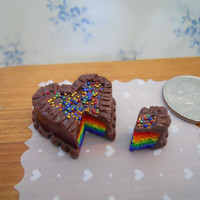Dollhouse Miniature Heart Shaped Rainbow Cake