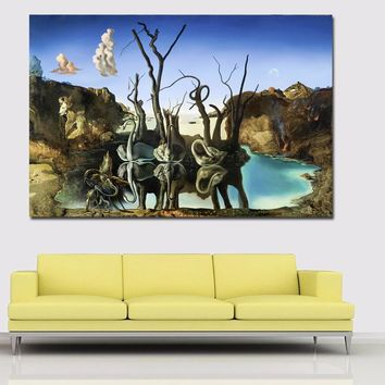 Modern Canvas Painting Wall Art Salvador Dali Oil Painting Swans Reflecting Elephants Wall Pictures For Living Room Home Decor