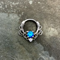 16G, 16 gauge Silver Wire wrapped Deep blue opal Septum Clicker Ring, Tribal Septum Ring Daith Hoop