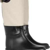 Burberry Shoes & Accessories | Rubber and waxed-canvas Wellington boots | NET-A-PORTER.COM