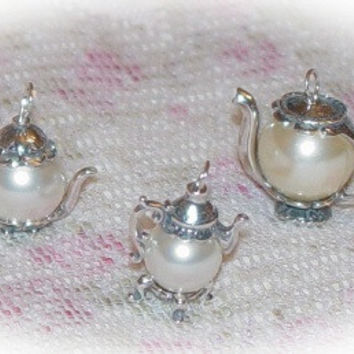 Large Faux Pearl Sterling Silver Teapot Charm