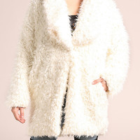 Cream Shaggy Faux Fur Coat
