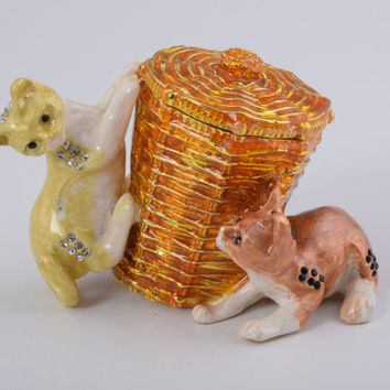 Faberge Style Cats Playing with a Basket Animal Trinket Box Handmade by Keren Kopal Enamel Painted