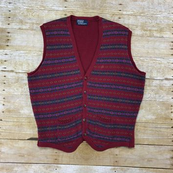 Vintage Polo by Ralph Lauren Maroon Striped 5-Button Sweater Vest Mens Size Medium