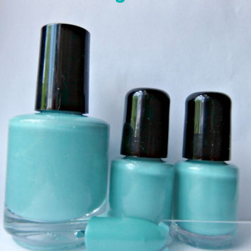 On a clear day -  Nail Polish - large bottle - Handmade - polish - demi matte - opaque - lacquer - creme - aqua - mint