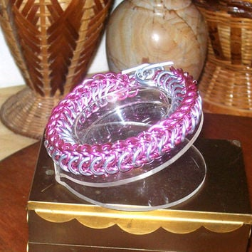Chainmaille Bracelet, Pink & Silver, Persian Dragon Scale Chainmail in Aluminum