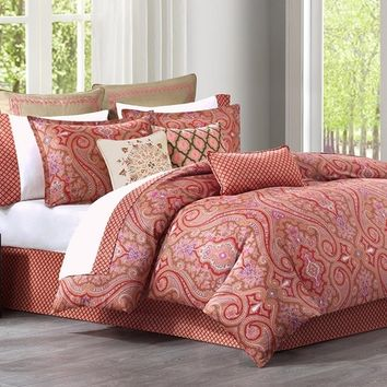 Aberdeen Medallion Coral Red Comforter Set