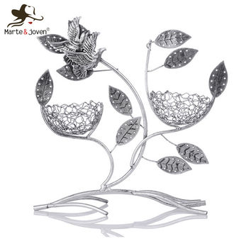 Fashion Retro Flying Bird Antique Silver Jewelry Holder Necklace Earrings Organizer Cute Earrings Rack Jewelry Display Frame