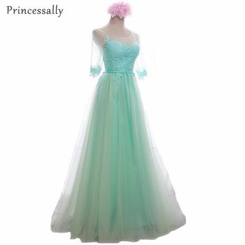 Mint Green Bridesmaid Dress Wine Red Lace Elegant Sleeve Tulle Sheer Gorgeous Gowns Long Prom Bridesmaid Dress Vestido De Noiva