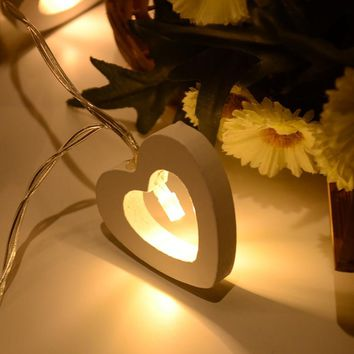 AA Battery Power 10 Leds Warm White Wood Cute Heart Shape Romantic LED String Light For Festive Christmas Birthday Wedding Party