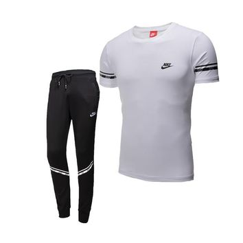 NIKE trend men's sports suit short-sleeved pants suit running fitness clothes two-piece White