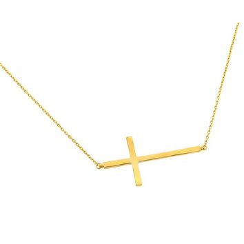 .925 Sterling Silver Gold Plated Sideways Cross Pendant Necklace 18 Inches