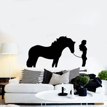 Vinyl Wall Decal Silhouette Woman with Horse Girl Room Art Decor Stickers Mural (ig5284)