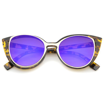 Unique Women's Laser Cut Insert Cay Eye Sunglasses A488