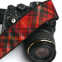 Checkered Camera Strap. dSLR Camera Strap. Christmas Camera Strap. Women Accessories.