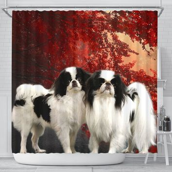 Japanese Chin Print Shower Curtains-Free Shipping