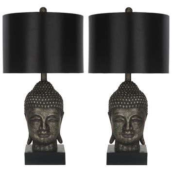Set of 2 Bronzed Gold Buddha Table Lamps