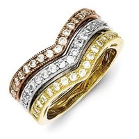 Genuine IceCarats Designer Jewelry Gift Sterling Silver Vermeil Trio Stackable Cz Rings Size 7.00:Amazon:Jewelry