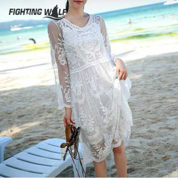 Sexy Hollow Out Crochet Long Sleeve Women Beach Cover Up Floral Embroidery Lace Cover Up Transparent Beach Bathing Suit One Size